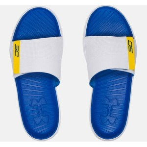 Under Armour Curry 3 Slides メンズ White/Ultra Blue アンダーアーマー サンダル Stephen Curry
