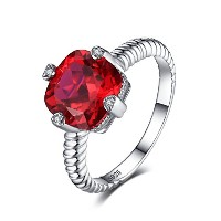 JewelryPalace 4.7ct クッション カット 告白 ルビー 指輪 スターリング シルバー925 リング サイズ 11号