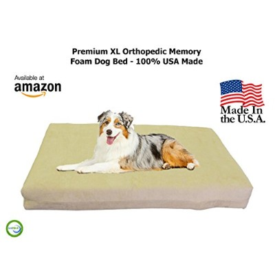 Pet Support Systems Orthopedic Gel Memory Foam Pet Bed, XL, Khaki / Tan by Pet Support Systems
