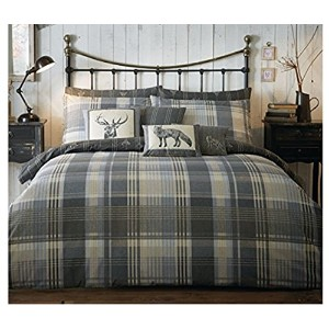 100% Brushed Cotton 'Connolly Check' Double Duvet Cover Set in Charcoal, Includes: 1x Double Duvet...