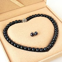 One&Only Jewellery 大粒 11-12mm 黒真珠 フォーマル 2点セット ネックレス & イヤリング or ピアス 専用ケース付 (ピアス)