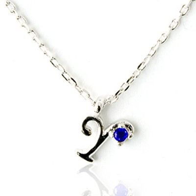 One&Only Jewellery 天然 サファイア イニシャル ネックレス ペンダント K18GP 宝石の王様 9月誕生石 (Y)