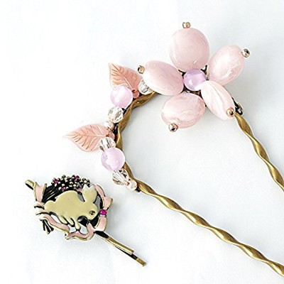 One&Only Jewellery フラワーかんざし ラビットヘアピン 2点セット (ピンク)