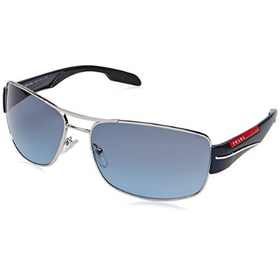 Prada Sport Sunglasses PS 53NS - 1BC5I1 Navy, Red and Silver (Blue Lens) - 65mm