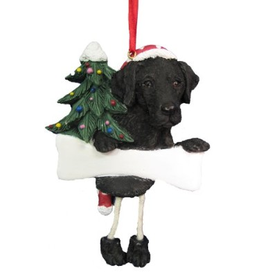 Black Labrador Ornament with Unique Dangling Legs Hand Painted and Easily Personalized Christmas Ornament by E&S Pets