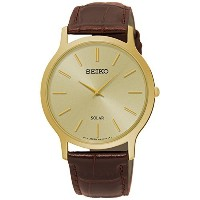 SEIKO Men's Solar Classic Brown Leather Watch SUP870P1 《並行輸入品》 [並行輸入品]