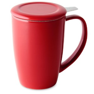 FORLIFE Curve Tall Tea Mug with Infuser and Lid 15 ounces, Red by FORLIFE