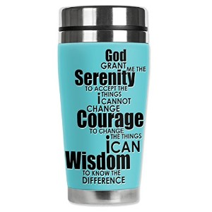 Mugzie 957-MAX Serenity Prayer Stainless Steel Travel Mug with Insulated Wetsuit Cover, 20 oz,...