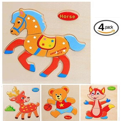 (wild animal-deer,bear,horse,fox) - Wtong 3D Wooden Puzzles Jigsaw Educational Toys Puzzle for...