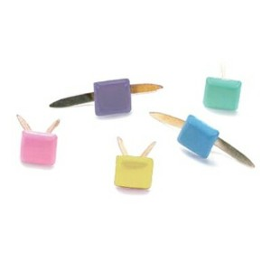 ブラッド(割りピン)Brads : Painted Metal Fastener/ Square 3mm - Pastel(1パック約100pcs入り)