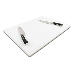 CommercialプラスチックCarving Board with Groove、NSF認証、HDPE Poly 24 x 18 x 3/4 Inch ホワイト COMINHKG100218