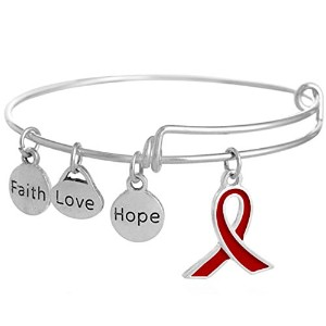 shinyjewelry Faith Love HopeリボンBreast Cancer Awarenessバングルカフブレスレット