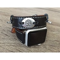 Black Double Wrap Vegan Leather Band For Apple Watch Series 1 2 & 3 (42mm) Replacement Bracelet Eco...