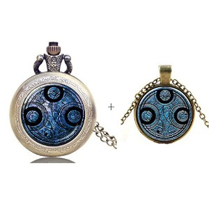 Doctor Who Gallifreyan Time Lordポケット時計ネックレス+ペンダントネックレスチャーム