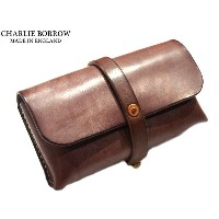 CHARLIE BORROW (チャーリー・ボロウ)/OAK BARK TANNED LEATHER x HAND STITCH TRAVEL POUCH/MADE IN ENGLAND/dark...