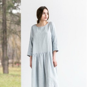 not PERFECT LINEN | Linen dress with sleeves and DROP SIDES (silver grey) | 着丈90cm