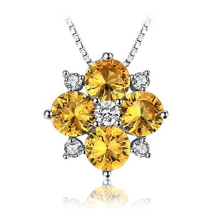 JewelryPalace 2.16ct 人工 イエロー サファイア ネックレス ペンダント スターリング シルバー925 チェーン 45cm