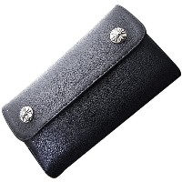 CHROME HEARTS(クロムハーツ) ウェーブ・クロスボタン・ブラック・ヘビーレザー Wave Wallet Black Heavy Leather w/Cross Buttons