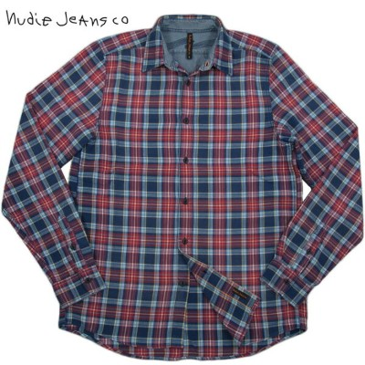 【SALE】30%OFF★Nudie Jeans co(ヌーディージーンズ) ALLAN ORG. FLANNELL フランネル チェック ワークシャツ BLUE/RED(ブルー×レッド)...