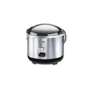 Oster 4724 10-Cup uncooked resulting in 20-Cup cooked Rice Cooker, Stainless Steel, White/Black by...