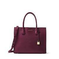 MICHAEL KORS MERCER LARGE BONDED-LEATHER TOTE PLUM [並行輸入品]