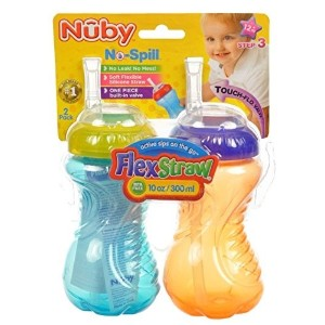 (ストローボトル) Nuby 2-Pack 10-oz No-Spill Flexi Straw Cup