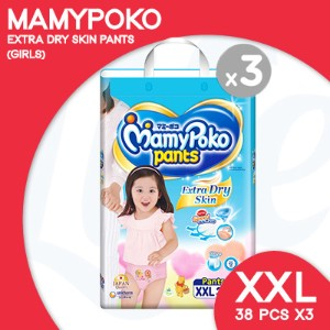 [Unicharm] MamyPoko EXTRA DRY SKIN PANTS  XXL GIRL/15-25kg (38pcs x 3 packs) NEW IMPROVED PACKAGING!