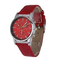 Emall Fashion Unisex PU Band Sport Quartz Watch with 3 Small DialsDecoration (Red)