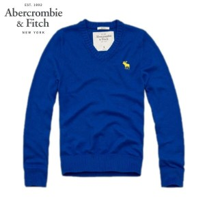 【25%OFFセール 2/16 10:00~2/20 9:59】 アバクロ Abercrombie&Fitch 正規品 メンズ Vネックセーター Morgan Mountain Sweater BLUE
