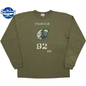 BUZZ RICKSON'S/バズリクソンズ L/S T-SHIRT 92nd FIGHTER SQ.長袖プリントTシャツ OLIVE(オリーブ)/BR66879