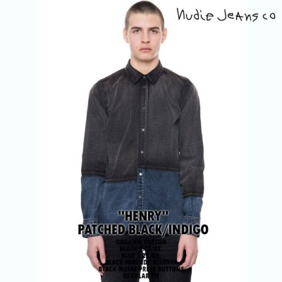 【NudieJeans ヌーディージーンズ HENRY ヘンリー PATCHED BLACK INDIGO 140489】