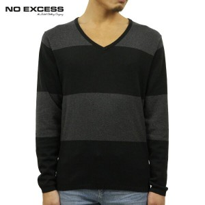 【30%OFFセール 5/25 10:00~5/30 23:59】 ノーエクセス NO EXCESS 正規販売店 メンズ Vネックセーター BOADER V NECK SWEATER 230954 20 BLACK