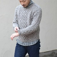 INVERALLAN(インバーアラン)/ 1A CREWNECK ALAN SWEATER(日本正規品)Naturally-Neutral -BRACKEN(N603)-(SIZE40,42)