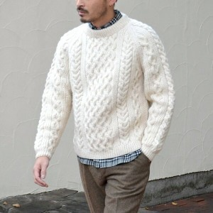 INVERALLAN(インバーアラン)/ 1H CREWNECK ALAN SWEATER(日本正規品)Heavy wt. -NATURAL-