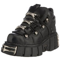New Rock Shoes - Unisex Black Leather Steel Tower Boots UK 4 / Black