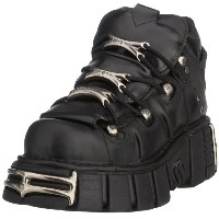 New Rock Shoes - Unisex Black Leather Steel Tower Boots UK 8 / Black