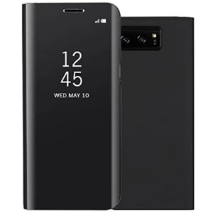 Galaxy Note8 ケース, Translucent Window View Flip Wallet Stand カバー, Shiny Plating Make Up Mirror, TAITOU Smart Sleep/Awake Hard ケース For Samsung Galaxy Note 8, Scan QR Package Code, Black
