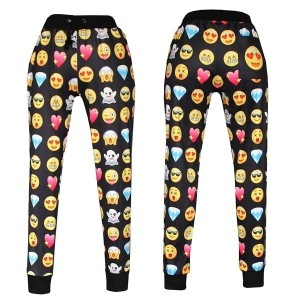 New Emoji style print pants funny cartoon sweatpants long joggers sportswear female male