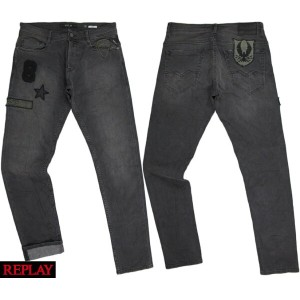 "REPLAY/リプレイMA964P""THYBER(サイバー)""SLIM FIT JEANSワッペン付き、スリムフィット・ストレッチ ブラックジーンズ10oz BLACK COATED STRETCH..."