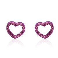 Hypoallergenic Surgical Steel Rhodium Plated Heart Earrings With Cubic Zirconia Stones (PINK)
