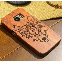 Galaxy S6Edge ケース, Handmade Rosewood Wooden Sculture Texture カバー, TAITOU Ultra Slim Thin Combined...