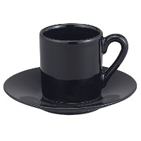 HIC 8点デミタスエスプレッソカップセット、Fineブラック磁器、セットIncludes付き4Cups Saucers、2.25-ounces