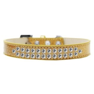 Two Row Clear Crystal Size 12 Gold Ice Cream Dog Collar