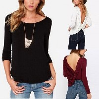 Sexy Ladies Womens Cross Deep V-neck Backless Long Sleeve Baggy Boho Top Shirt Blouse Slim Tee Crop