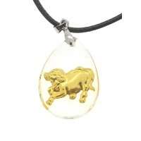 Chinese Zodiacゴールドトーン水ドロップペンダントネックレス、星座ネックレス