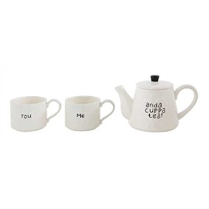 You Me and a cuppa TeaホワイトStonewareティーポットとマグカップ3ピースセット