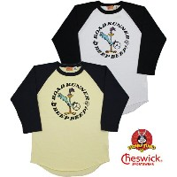"CHESWICK/チェスウィック ROAD RUNNER/ロードランナー 3/4 LENGTH SLEEVE BASEBALL T-SHIRT ""BEEP BEEP IN CIRCLE""..."