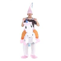 Cute Adult Inflatable Unicorn Costume Suit Blow Up Fancy Dress Party Halloween Inflatable Pegasus Ou