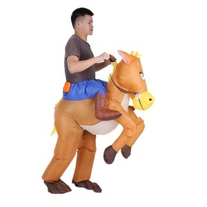 Funny Cowboy Rider on Horse Inflatable Costume Outfit for Adult Fancy Dress Halloween Carnival Party