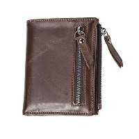 Zhhlinyuan 柔らかい Mens High Quality Leather Slim Professional Wallet Money Organizer Zip Coin Pocket...